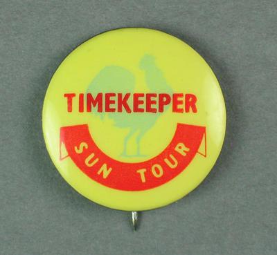Badge - Sun Tour - Timekeeper.  c.1954-55