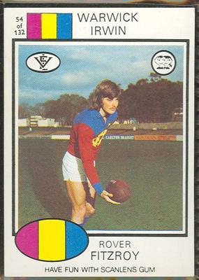 1975 Scanlens VFL Football Warwick Irwin trade card
