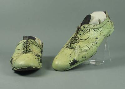 Pair of green bicycle racing shoes, worn by Sir Hubert Opperman c1940s