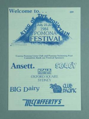 Programme, Pomona King of The Mountain Festival 1984
