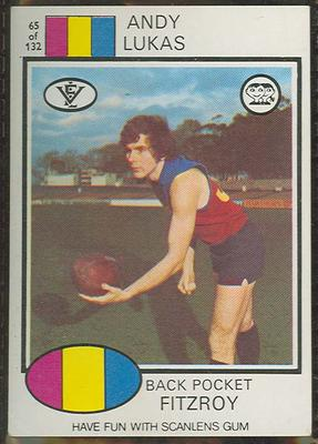 1975 Scanlens VFL Football Andy Lukas trade card
