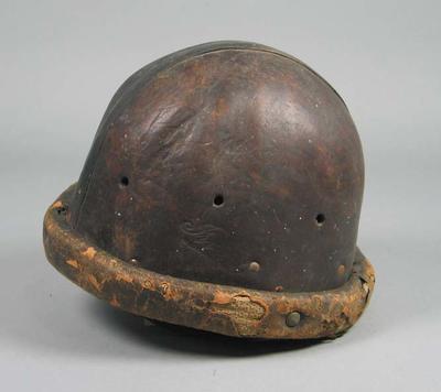 Brown leather cycling helmet, worn by Hubert Opperman