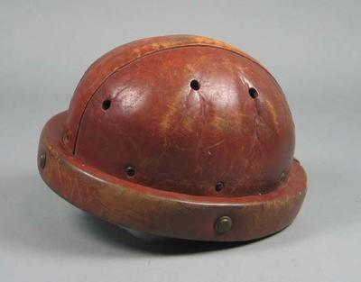 Helmet worn by Hubert Opperman whilst riding a world record time at the Melbourne Motordrome, 1932