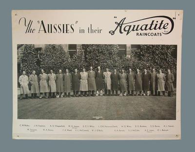 Advertising photograph - 1938 Australian XI team in Aquatite Raincoats