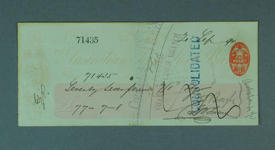 Cheque, payment to Australian XI cricketer for tour of England - 1890
