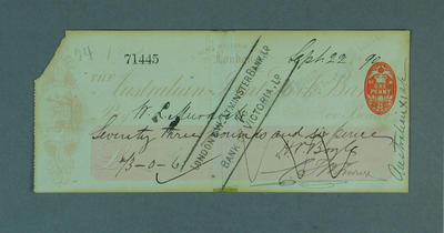 Cheque, payment to W L Murdoch for cricket tour of England - 1890