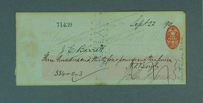 Cheque, payment to J E Barrett for cricket tour of England - 1890