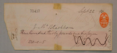 Cheque, payment to J Blackham for cricket tour of England - 1890