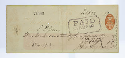 Cheque, payment to S P Jones for cricket tour of England - 1890
