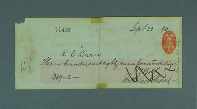 Cheque, payment to K E Burn for cricket tour of England - 1890