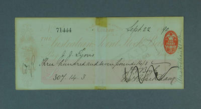 Cheque, payment to J J Lyons for cricket tour of England - 1890