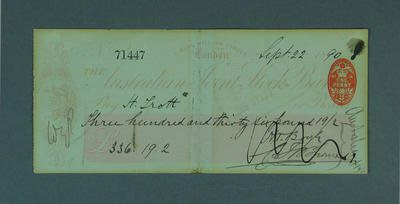 Cheque, payment to H Trott for cricket tour of England - 1890