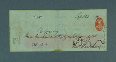 Cheque, payment to S E Gregory for cricket tour of England - 1890