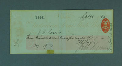 Cheque, payment to J J Ferris for cricket tour of England - 1890