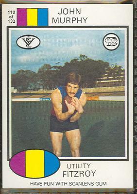 1975 Scanlens VFL Football John Murphy trade card