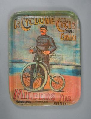 Lacquered, wooden tray - 'Le Cyclone Cycle sans Chain' - cyclist with bicycle