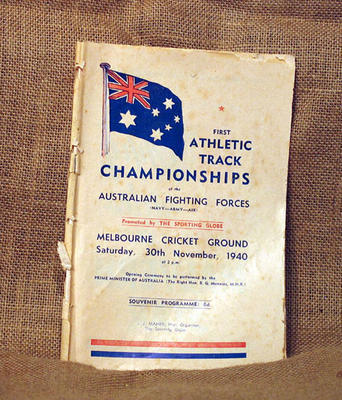 Programme for Athletic Track Championships of the Australian Fighting Forces, 30 Nov 1940