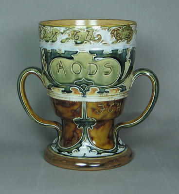 "Royal Doulton vase with inscriptions, initials, & date: ""A.O.D.S. May 1902"", commemorates visit of Surrey Cricket Team."