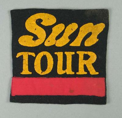 Black cloth patch worn by cyclist Russell Mockridge - Sun Tour