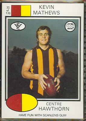 1975 Scanlens VFL Football Kevin Mathews trade card
