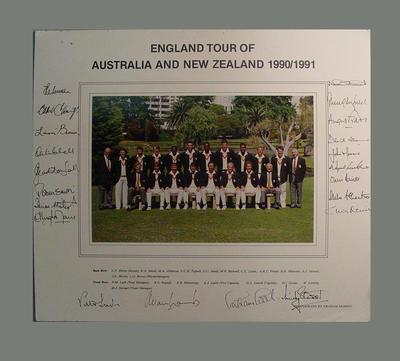Autographed photograph of 1990-91 England cricket team Australasian tour; Photography; M8257