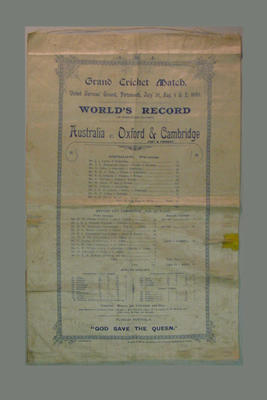 Silk scorecard for Australia v Oxford & Cambridge cricket match, 1893