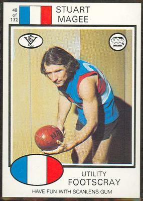 1975 Scanlens VFL Football Stuart Magee trade card