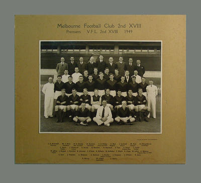 Team photograph of Melbourne Football Club 2nd XVIII, 1949 VFL Premiers; Photography; M8277