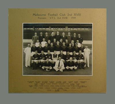 Team photograph of Melbourne Football Club 2nd XVIII, 1949 VFL Premiers