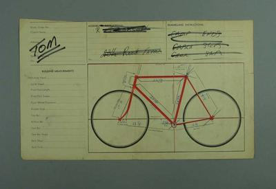 Bicycle builder's order sheet  with Bicycle Specifications and 'Tom' handwritten upper left corner