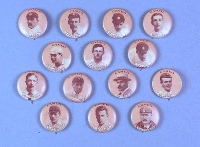 Set of fourteen badges featuring images of England cricket team, 1901-02