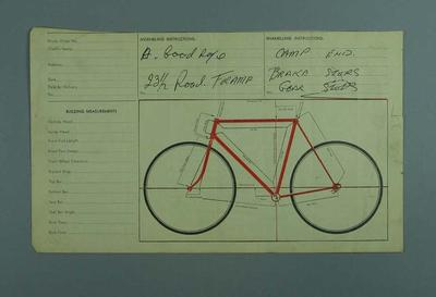 Bicycle builder's order sheet  with Bicycle Specifications and '23 1/2 Road Frame' handwritten upper centre.
