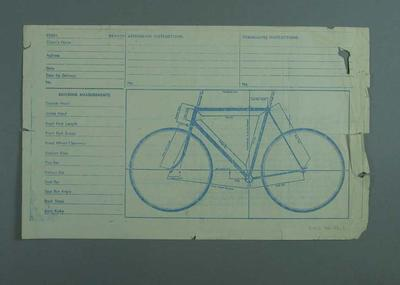 Bicycle builder's order sheet  with Bicycle Specifications, sheet printed in blue