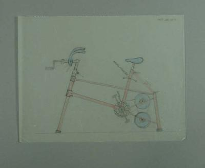 Pencil drawing believed to be of a bicycle measuring machine, with handcoloured parts