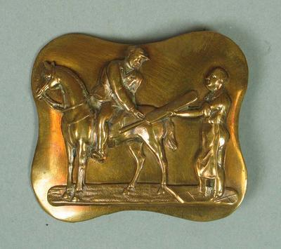 Brass belt buckle, featuring image of cricketers c1870