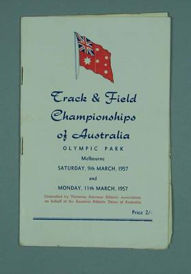 Programme for Australian track and field championships, 1957; Documents and books; 1994.3011.39