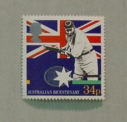 Postage stamp commemorating Australian Bicentenary, image of W G Grace