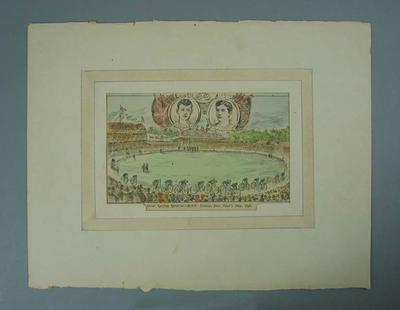 Lithograph depicting Great Cycling Carnival at MCG, New Year's Day 1896