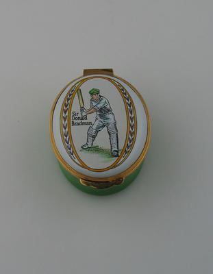 Patch box, featuring image of Don Bradman