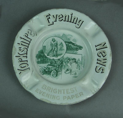Ashtray, advertising Yorkshire Evening News, featuring image of cricketer c1920s