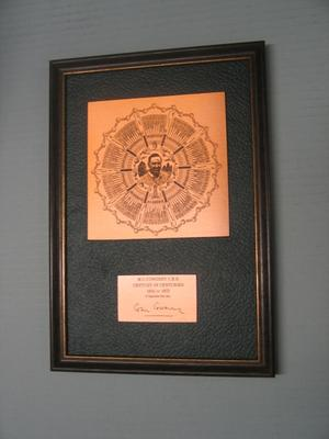 Copper plaque, featuring image of Colin Cowdrey