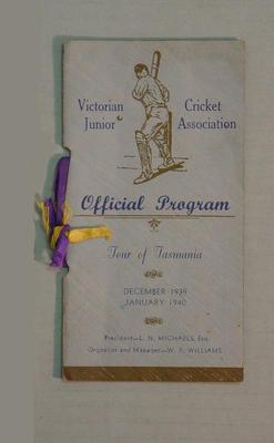 Programme for VJCA tour of Tasmania, 1939-40; Documents and books; M8066