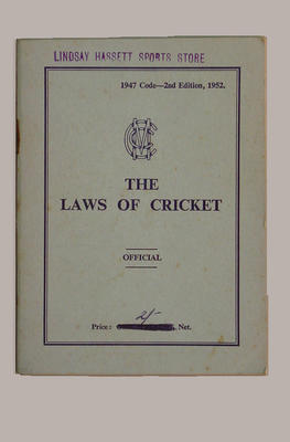 """Booklet, """"The Laws of Cricket""""; Documents and books; M8067"""