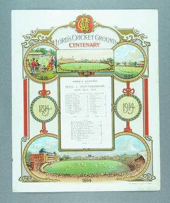 Commemorative scorecard for 1814 cricket match between Marylebone Cricket Club and Hertfordshire, 1914