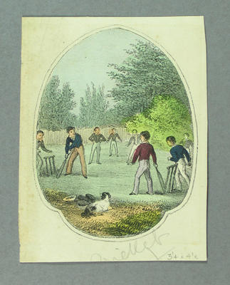 Colour lithograph, depicts boys playing cricket