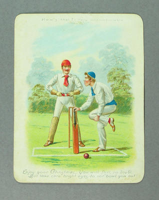 Christmas card, image of cricket scene and caption