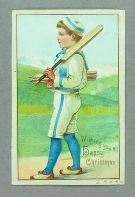 Christmas card, image of boy cricketer
