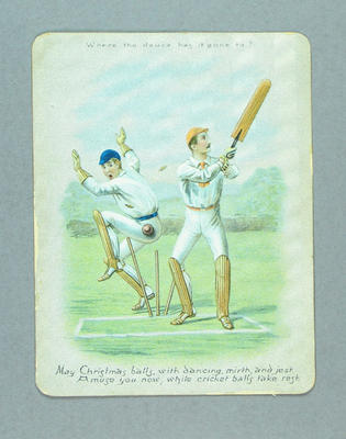 Christmas card, image of cricket match