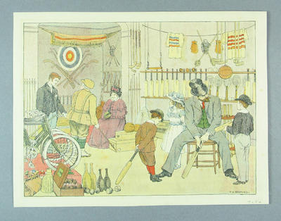 Print, depicts a sports store c1880