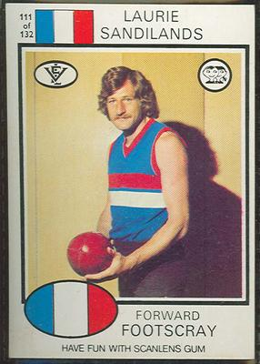1975 Scanlens VFL Football Laurie Sandilands trade card; Documents and books; 1994.3042.169
